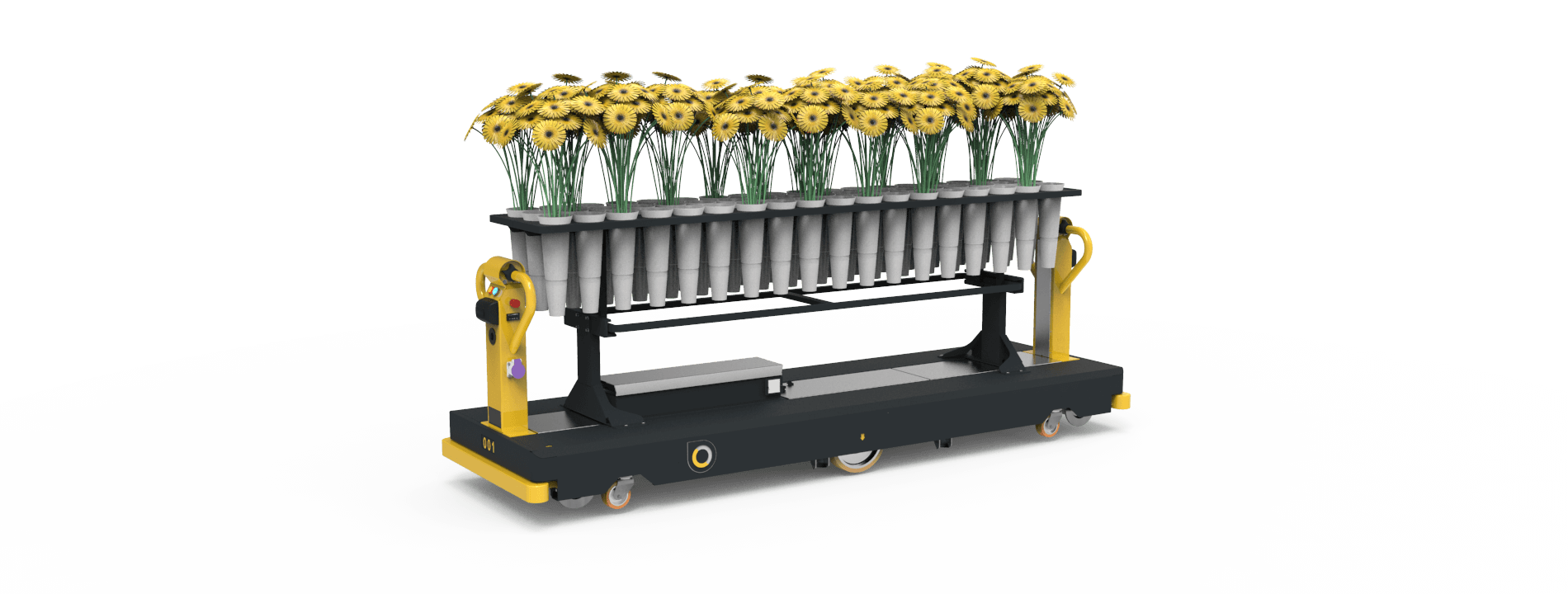 Qii-Drive Flower AGV flower harvesting machine with vases