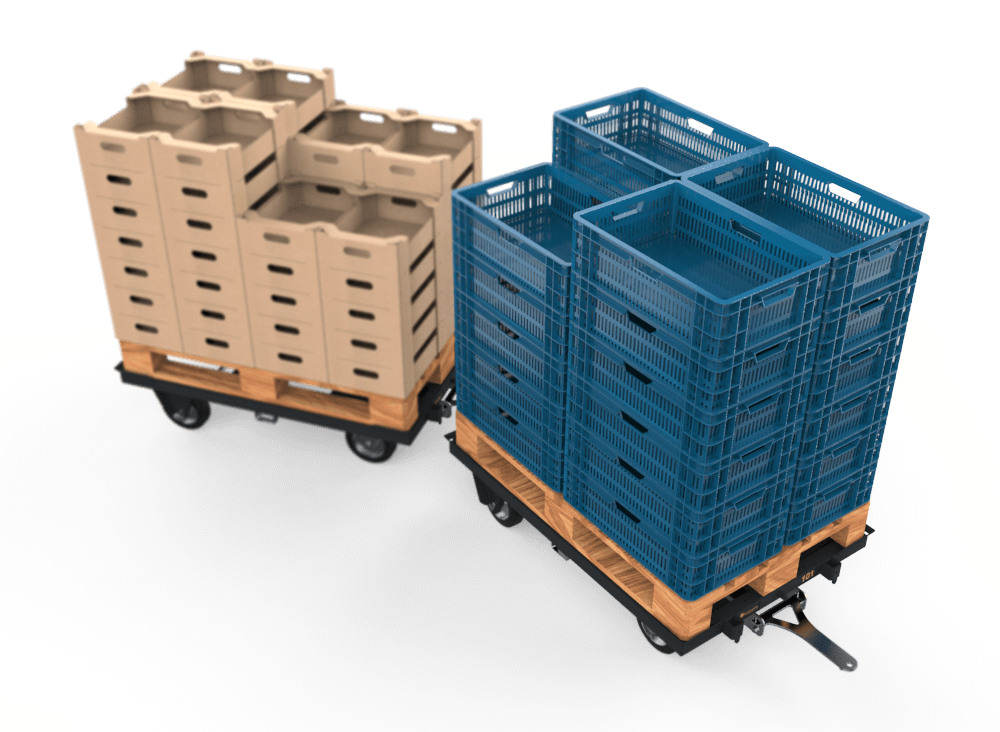 Transport of fust EPS-boxes or cardboard boxes
