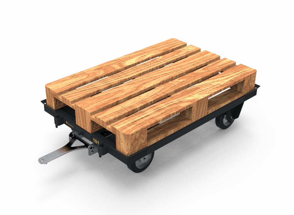 Pallet transport trolley with europallet