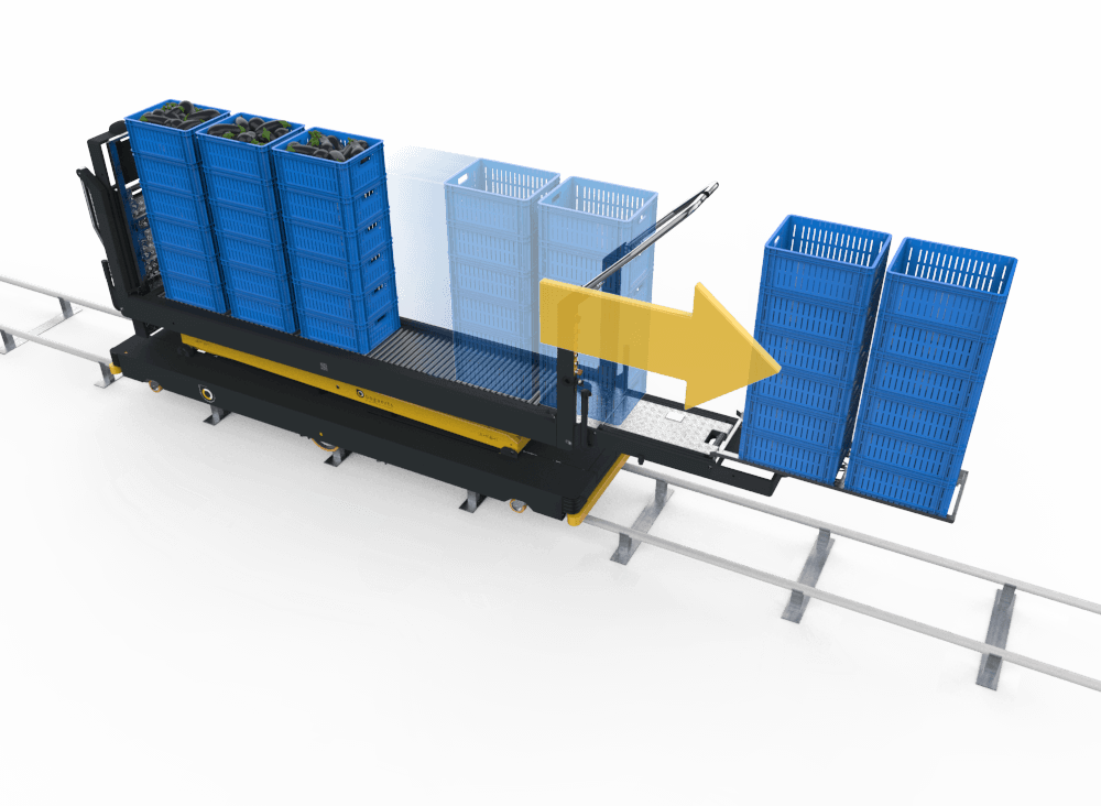 Qii-Drive Fust with efficient work flow by sliding empty crates from the main platform to the empty boxes frame